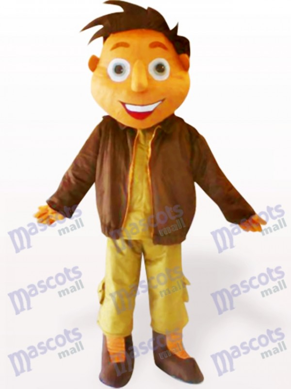 Costume de mascotte adulte de bande dessinée de garçon de veste