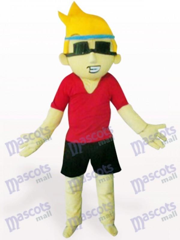 Costume de mascotte de garçon de bande dessinée de lunettes de soleil de garçon