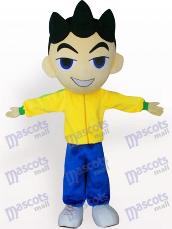 Grand garçon de tête en costume jaune de mascotte de bande dessinée de vêtements jaunes