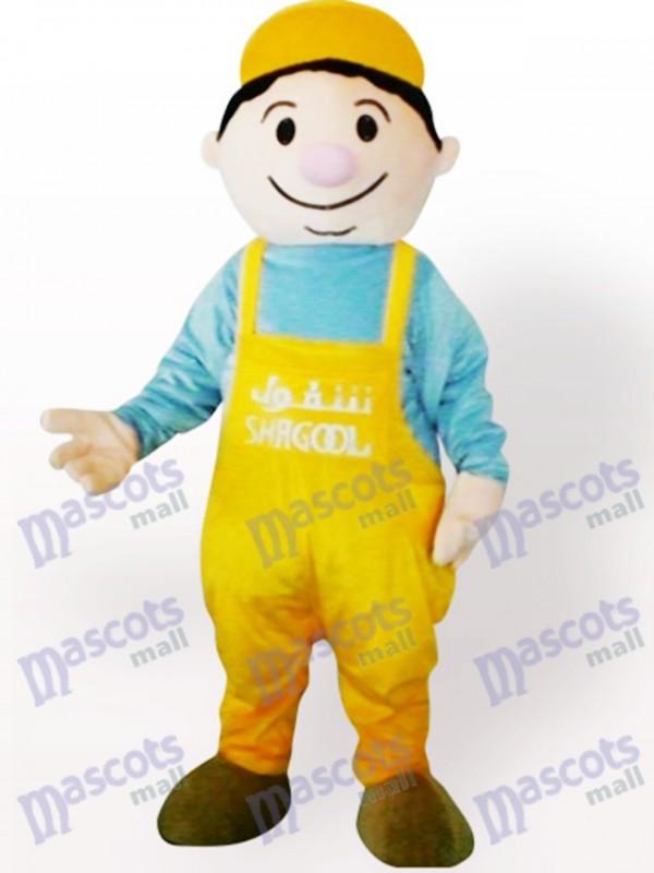 Costume de mascotte adulte de dessin animé de garçon de mineur