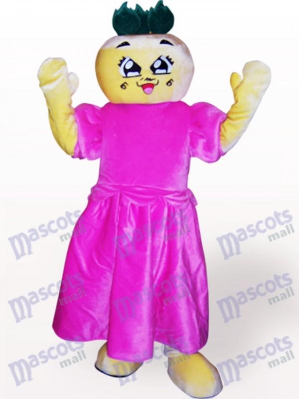 Costume de mascotte adulte Cartoon tête plate fille