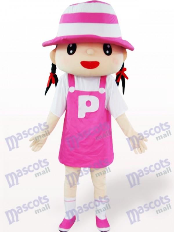 Costume de mascotte adulte de dessin animé de chapeau de fille rose