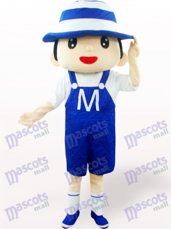 Costume de mascotte adulte bleu Bonnet Boy Cartoon