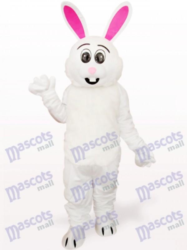Lapin blanc de Pâques avec Costume de mascotte adulte animal oreille rouge