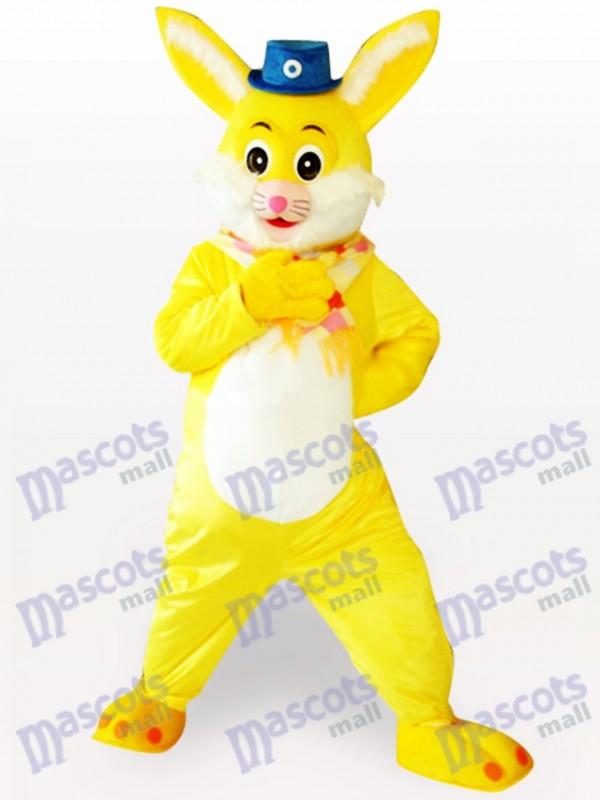 Costume de mascotte adulte de lapin de Pâques jaune animaux