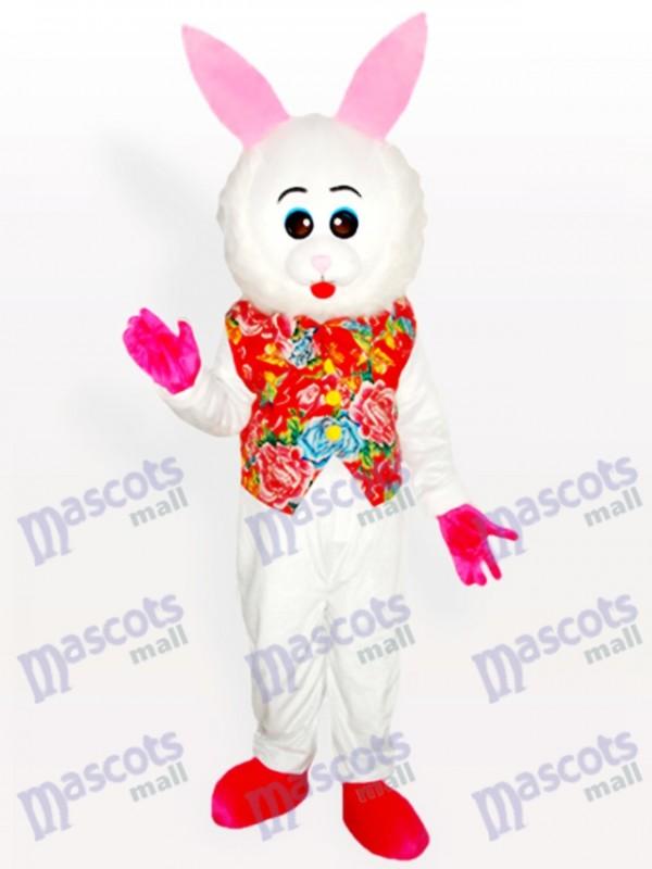 Pâques adorable lapin de Pâques en costume de mascotte florale adulte mascotte