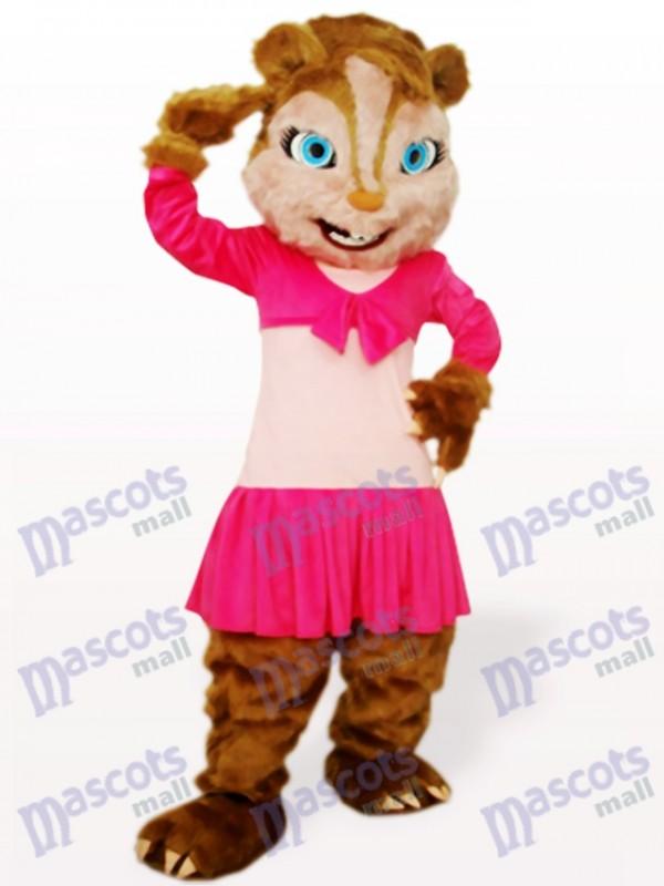 Costume de mascotte adulte rose écureuil cheveux longs animaux