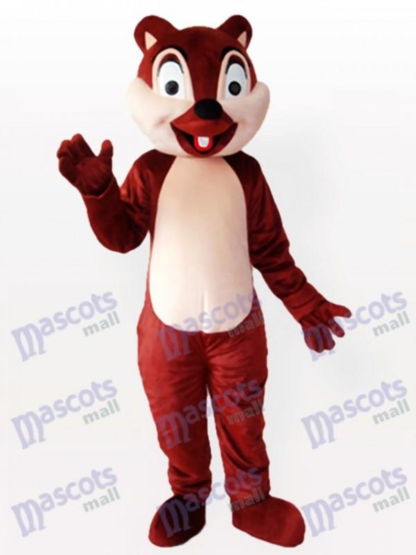 Écureuil brun minuscule avec un costume incisif de mascotte adulte