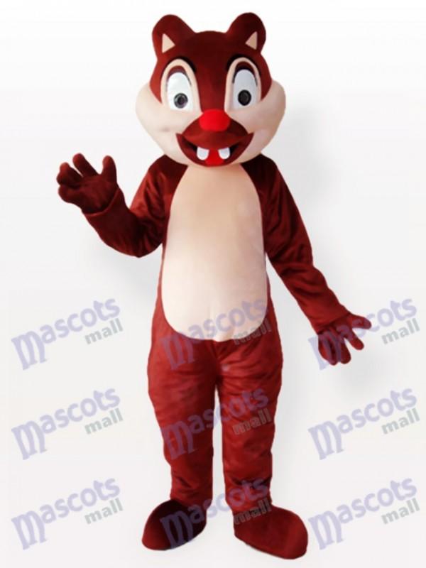 Écureuil brun minuscule avec le costume de mascotte adulte de deux incisives