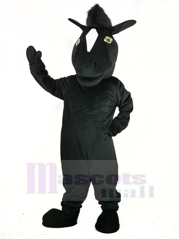 Noir Mustang Cheval Mascotte Costume Animal