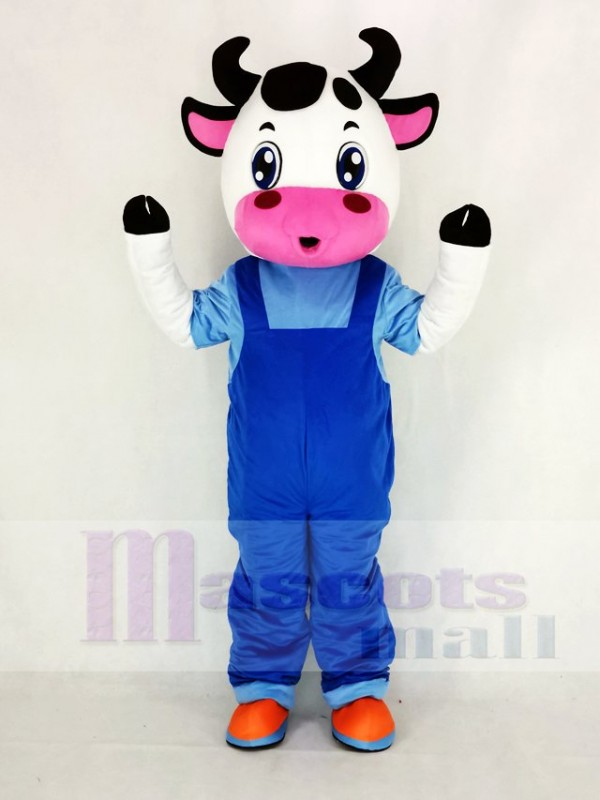 Mignonne Vache avec Bleu Salopette Mascotte Costume Dessin animé