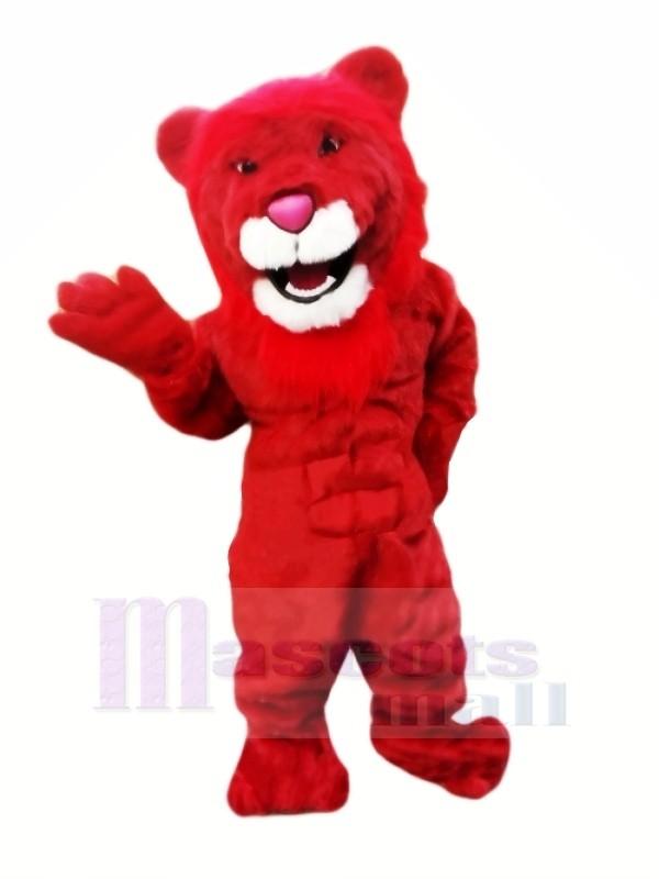 Puissance rouge Lion Mascotte Les costumes Dessin animé