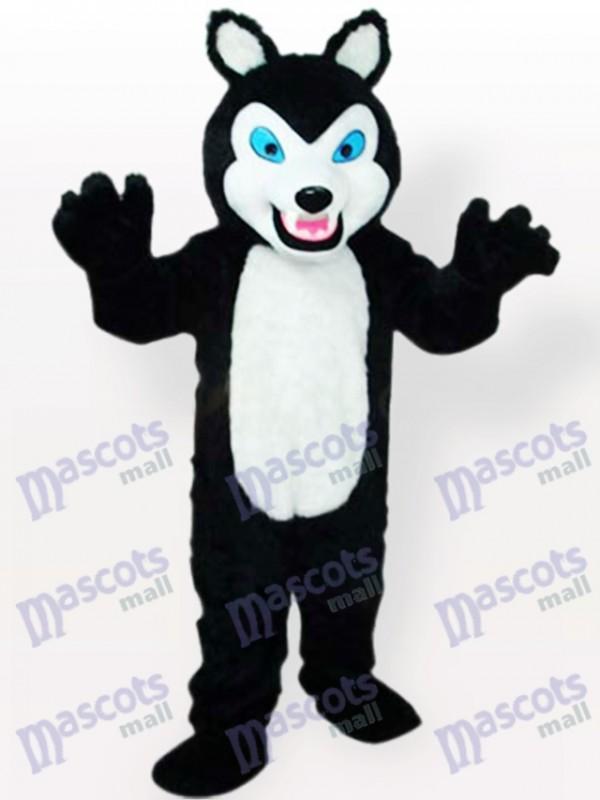 Petit loup noir avec des dents grimaçant Costume de mascotte adulte animal